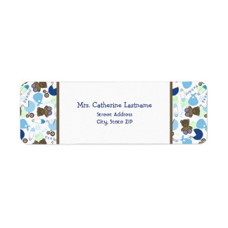 It's A Boy Blue Pattern Baby Shower Address Label