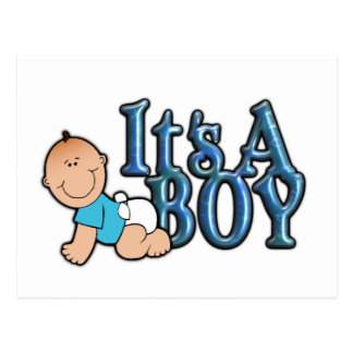 It's A Boy Blue Text w/Baby Announcement Postcard