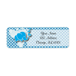 It's A Boy, Blue & White Plaid with Baby Elephant Return Address Label