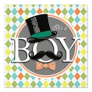 It's a Boy!  Colorful Argyle 13 Cm X 13 Cm Square Invitation Card