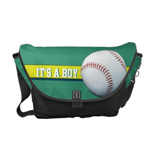 It's A Boy Customizable Green Baseball Diaper Bag Courier Bag
