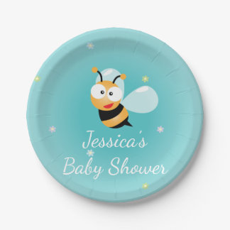 It's a Boy Cute Bumble Bee Blue Boy Baby Shower 7 Inch Paper Plate