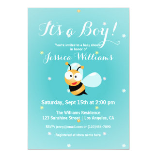 It's a Boy Cute Bumble Bee Blue Boy Baby Shower Card