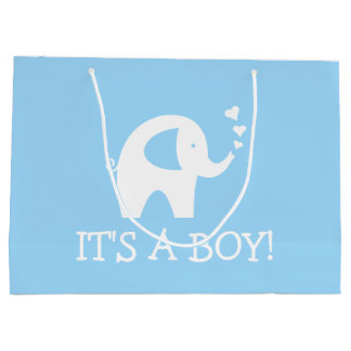 It's a boy cute elephant baby shower party large large gift bag