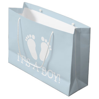 It's a boy cute footprints baby shower party large large gift bag
