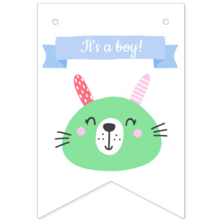 It's a boy!| Cute Green Bunny Baby Shower Bunting