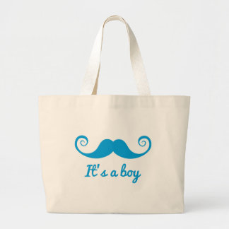 it's a boy design with blue mustache for baby jumbo tote bag
