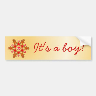 IT'S A BOY GINGERBREAD MAN by SHARON SHARPE Car Bumper Sticker