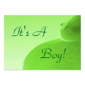 "It's A Boy Green Announcement 5"" X 7"" Invitation Card"
