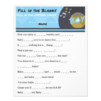 It's a BOY Hip Hop Urban Baby Shower Game Flyer