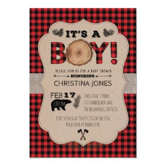 It's A Boy Lumberjack Baby Shower Invitation