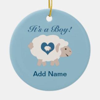 It's a Boy! Mama Sheep Round Ceramic Decoration