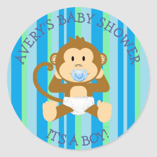 Its a Boy, Monkey Baby Shower Blue Green stickers
