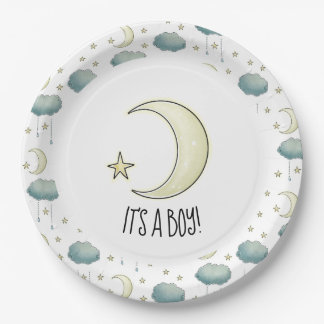 It's a boy Moon and stars Paper Plate