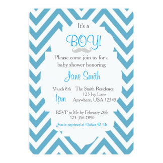 It's a Boy Mustache Baby Shower Invitation