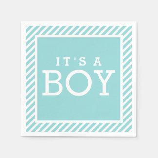 It's a Boy Napkins | Aqua Blue Disposable Napkins