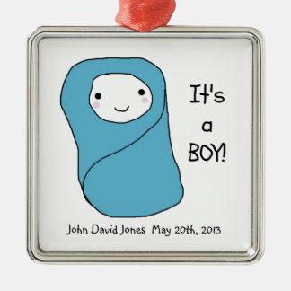 It's a Boy New Baby Birth Announcement Silver-Colored Square Decoration