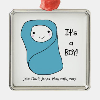 It's a Boy New Baby Birth Announcement Silver-Colored Square Decoration