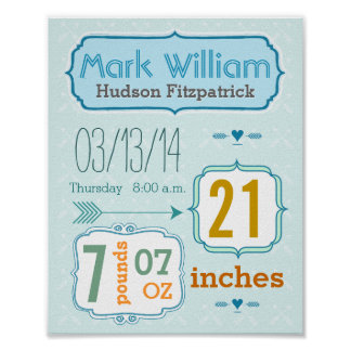 It's A Boy! New Baby Stats Cute Arrow Poster