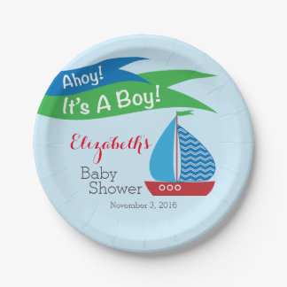 It's A Boy, Personalized Nautical Baby Shower Paper Plate