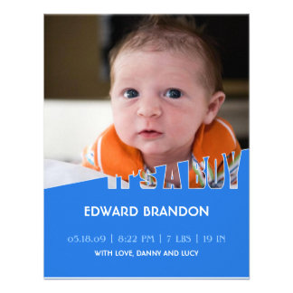 It's a Boy Photo Flat Announcement Card