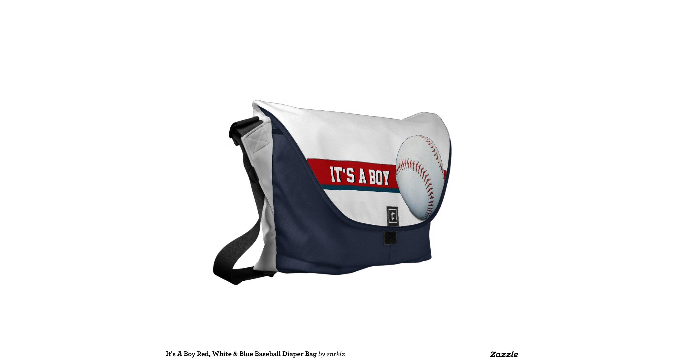 it 39 s a boy red white blue baseball diaper bag commuter bag zazzle. Black Bedroom Furniture Sets. Home Design Ideas