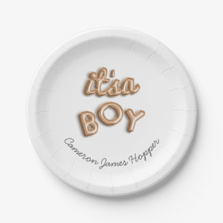 ITS a BOY! Rose gold paper plate