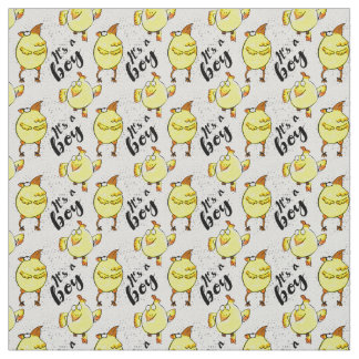 """""""It's a boy"""" sign with yellow chickens characters Fabric"""