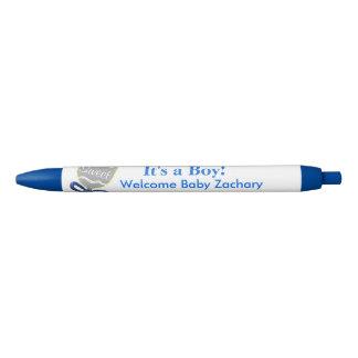 It's A Boy Silver Baby Rattle Blue Announcements Blue Ink Pen