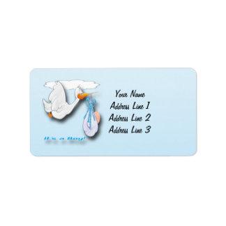 It's a Boy Stork Baby Shower Address Labels