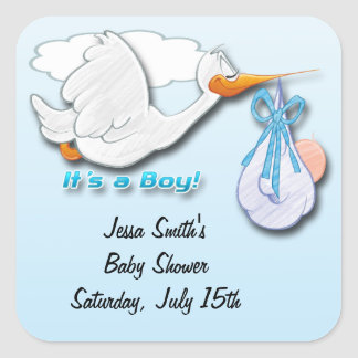 It's a Boy Stork Baby Shower Favor stickers