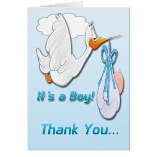It's a Boy Stork Baby Shower Thank You card