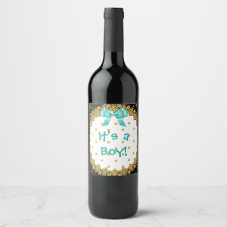 "Its a boy teal and gold"" Wine Bottle Labels"
