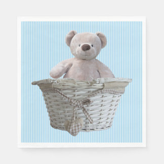 It's A Boy Teddy Bear Blue Stripes Baby Shower Paper Napkins