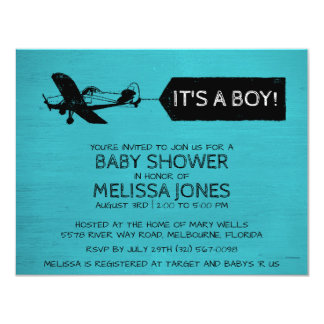 It's A Boy Turquoise Airplane Baby Shower Invite
