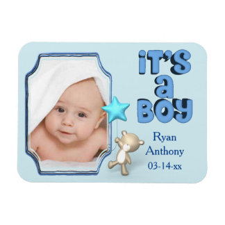 It's A Boy With Photo and Baby Bear Magnet