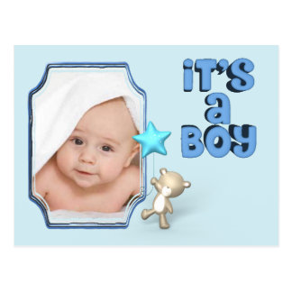 It's A Boy With Photo and Baby Bear Postcard
