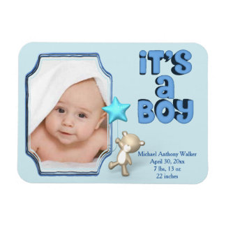 It's A Boy With Photo, Information and Baby Bear Magnet