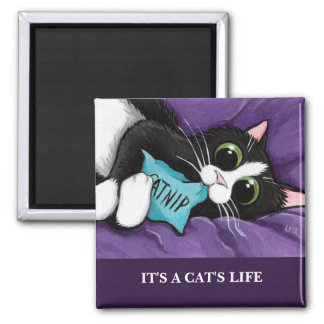 It's A Cat's Life | Personalizable Cat Art Magnet