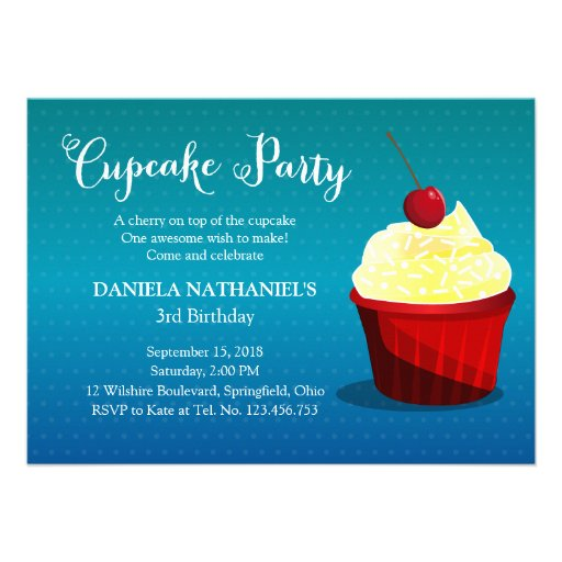 It's A Cupcake Party Custom Invitations