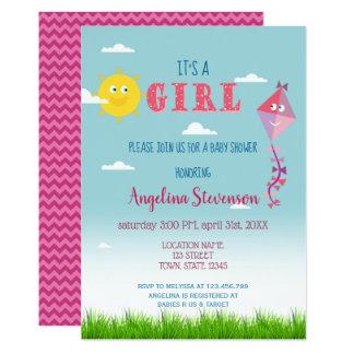 It's a Gir Baby Shower Sun Kite Cute Spring Summer Card