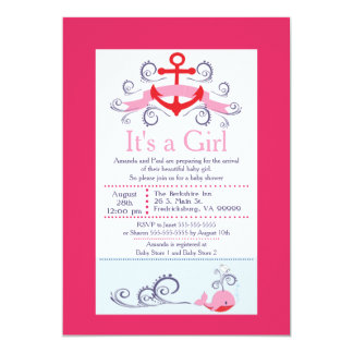 It's A Girl Anchor & Whale Baby Shower 13 Cm X 18 Cm Invitation Card