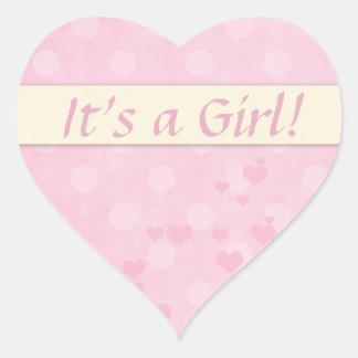 It's a Girl Baby Announcement Heart Sticker