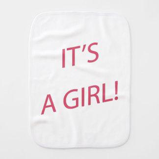 It's a girl baby burp cloth