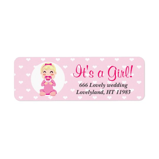 It's a Girl Baby Girl Design Return Address Label