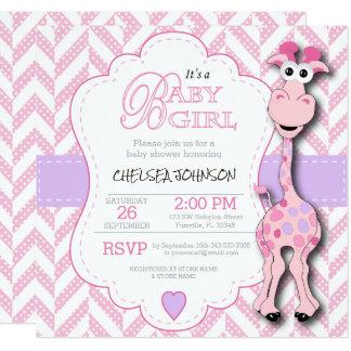It's a Girl - Baby Pink Giraffe Card