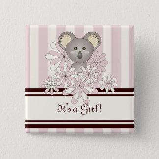Its A Girl Baby Shower Cute Animal Koala Pink 15 Cm Square Badge