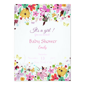 It's a girl. Baby shower floral invitation card