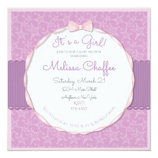 Its a Girl Baby Shower Invitation- Lavender Stars Card