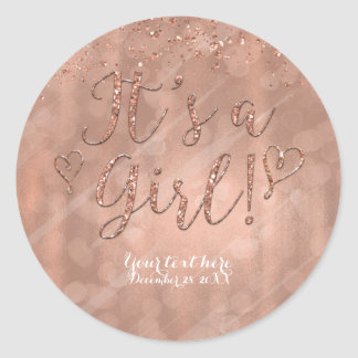 It's a Girl Baby Shower Pink Rose Gold Glam Favor Classic Round Sticker